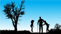 Vector silhouette of family. - stock illustration