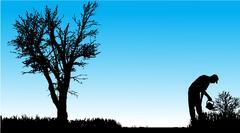 Vector silhouette of man. - stock illustration