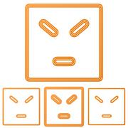 Orange line anger logo design set Stock Illustration