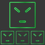 Green anger concept logo design set Stock Illustration