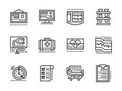 Medical black line vector icons. Cardiology Stock Illustration