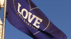 Love Northamptonshire Flag Blowing in the Wind - stock footage