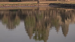 Angkor wat temple reflection in water Stock Footage