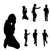 Vector silhouette of boy. - stock illustration