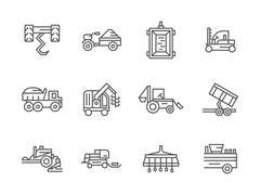 Stock Illustration of Farm machinery black line vector icons