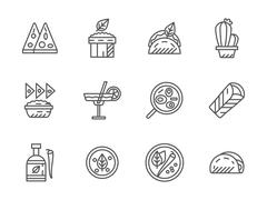 Black line vector icons for mexican menu - stock illustration