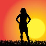 Vector silhouette of a woman. - stock illustration