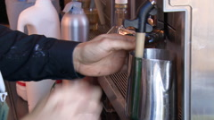 Extended Variety of Shots of Coffee Making Process Stock Footage