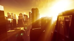 4K Megapolis in the Sunset Sunrise Lightrays Wide Angle Pan - stock footage