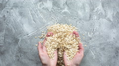 Oats and nuts stop motion animation Stock Footage