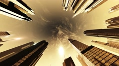 4K Megapolis in the Sunset Sunrise Seamlessly Spinning Camera Motion Wide Low - stock footage