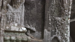 Apsara sculpture in a temple in cambodia Stock Footage