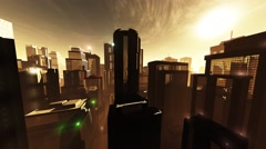 4K Megapolis in the Sunset Sunrise Wide Angle Pan Stock Footage