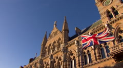 Wide Pan of Union Jack and Guildhall - stock footage