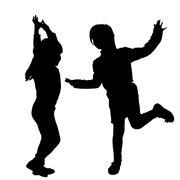 Vector silhouette of children. - stock illustration