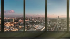 Time lapse of brussels skyline seen through modern window Stock Footage