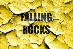 Grunge cracked Falling rocks sign Stock Illustration