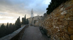 Antique church in Pienza, Tuscany, Italy, Europe - stock footage