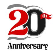 20th Anniversary Celebration Vector Logo Design - stock illustration