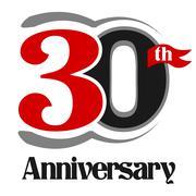 30th Anniversary Celebration Vector Logo Design Stock Illustration