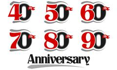 Celebration Anniversary Set - 40th, 50th, 60th, 70th, 80th And 90th Stock Illustration