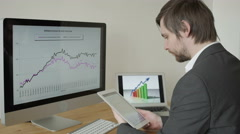 Experienced Businessman Looking at Financial Data with Graphics and charts while Stock Footage