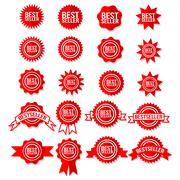 Best Seller Sign Symbol - Red Bestseller Award Icon Set Stars Stickers - stock illustration