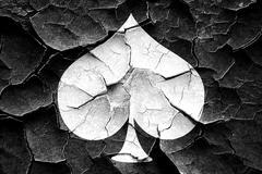 Grunge cracked Spade card background - stock illustration
