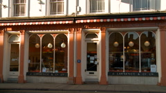 Old Fashioned Pastry Shop Front Stock Footage
