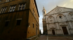 Antique church in Pienza, Tuscany, Italy, Europe Stock Footage
