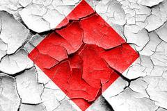 Grunge cracked Foxtrot maritime signal flag - stock illustration