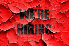 Grunge cracked We are hiring sign - stock illustration