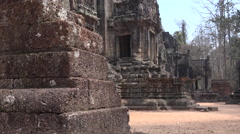 Ancien temple under blue sky near angkor wat, cambodia. Stock Footage