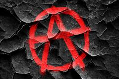 Grunge cracked Anarchy sign with rough edges - stock illustration
