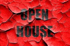 Grunge cracked Open house sign Stock Illustration