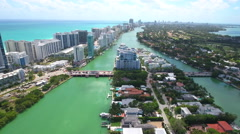Aerial 63rd Street Bridge and La Gorce Miami Beach Stock Footage