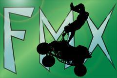Vector silhouette of a motocross. - stock illustration