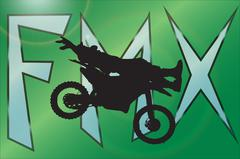 Vector silhouette of a motocross. - stock illustration