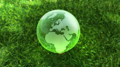 Ecology environment concept, glass globe in the green grass Stock Footage