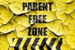 Grunge cracked No parents allowed sign - stock illustration