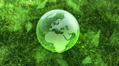 Stock Video Footage of Ecology environment design concept, glass globe in the green grass