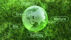 Stock Video Footage of Ecology environment design text concept, glass globe in the green grass