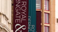 Tilting Up and Down on Royal and Derngate Banners - stock footage