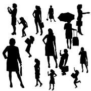Vector silhouette of businesswoman. - stock illustration