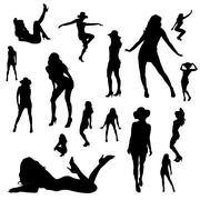 Vector silhouettes of sexy girls. Stock Illustration