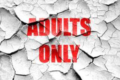 Grunge cracked adults only sign - stock illustration