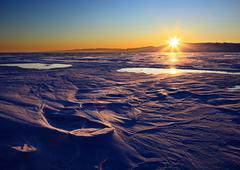Surface of Baikal Lake in winter Stock Photos