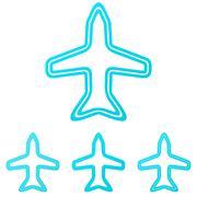 Cyan line aircraft logo design set - stock illustration