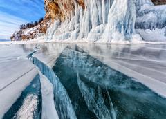 Crack through glacier Stock Photos