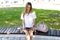 Beautiful brunette girl - stock photo